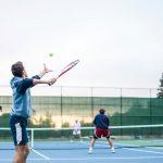 serving tennis shot